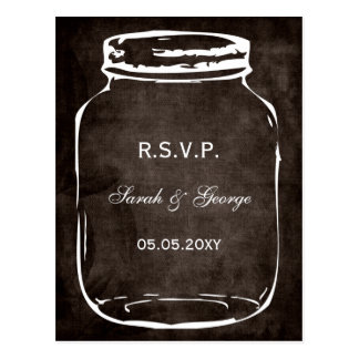 rsvp rústico del boda del tarro de albañil postal