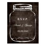 rsvp rústico del boda del tarro de albañil postales