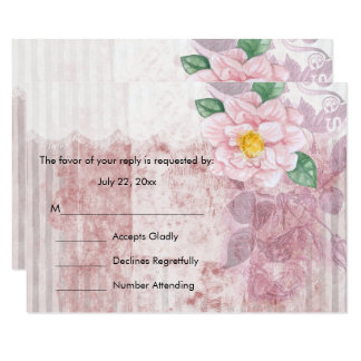 RSVP Shabby Chic Pink Rose Wedding Card