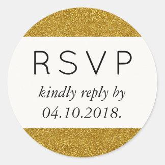 RSVP - Shiny Glitter, Sparkling Glitter - Gold Classic Round Sticker