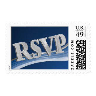 RSVP Silver and Blue Postage Stamp