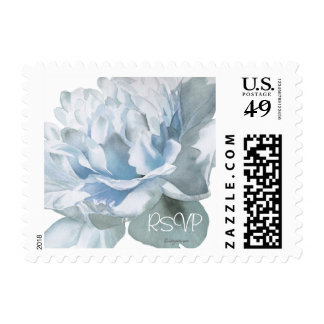 RSVP Silver Blue Peony 6 Small Wedding Postage