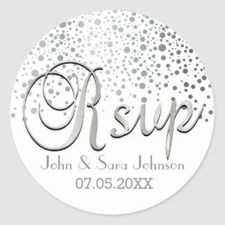 RSVP | Silver Dots | Personalize Classic Round Sticker