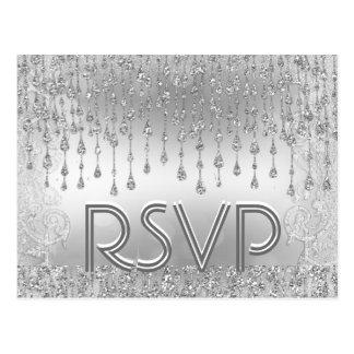 RSVP | Silver Falling Stars Postcard