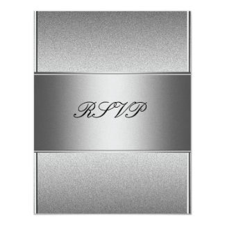 RSVP Silver Grey Metal Black 21st Birthday Card