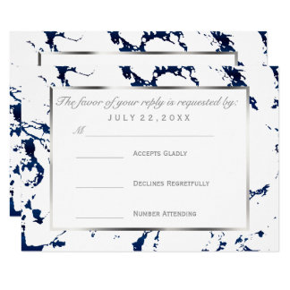 RSVP  Silver, Navy Blue and White Card