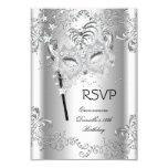 RSVP Silver Quinceanera 15th Birthday Masquerade 3.5x5 Paper Invitation Card