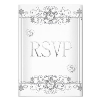 RSVP Silver White Diamond Hearts 2 Card