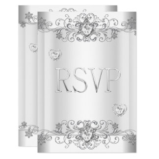 RSVP Silver White Diamond Hearts Card
