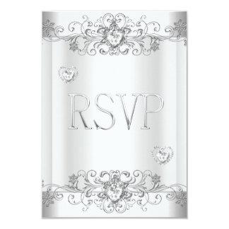 RSVP Silver White Diamond Hearts Announcement