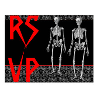 RSVP Skeletons - Halloween Party, Haunted House Postcard