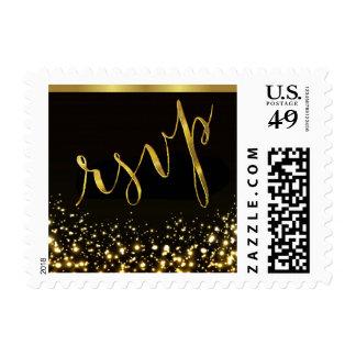 RSVP Sparkling Lights Gold Foil   black gold Postage Stamp