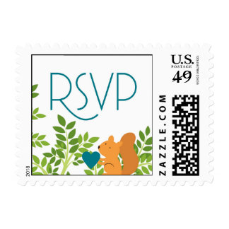 RSVP stamp with love squirrel