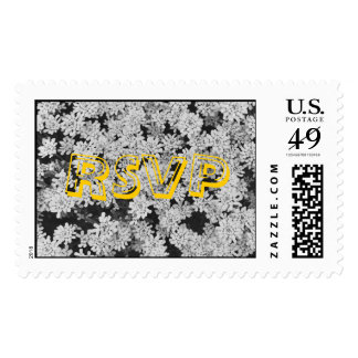 RSVP Stamp with White Flowers background.