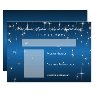 RSVP  Star Lights in Metallic Blue - RSVP Card