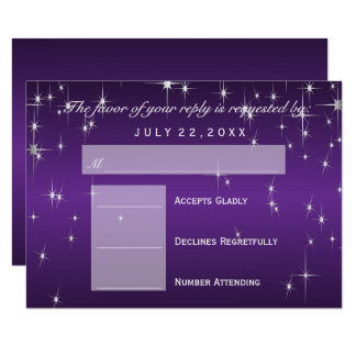 RSVP  Star Lights in Metallic Purple - RSVP Card