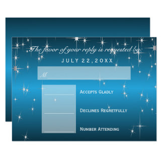 RSVP  Star Lights in Metallic Sky Blue - RSVP Card