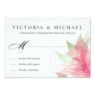 """RSVP Stargazer Pink Watercolor Floral Reply Cards 3.5"""" X 5"""" Invitation Card"""