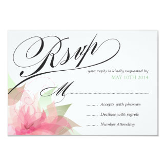 """RSVP Stargazer Pink & White Floral Deluxe 2-sided 3.5"""" X 5"""" Invitation Card"""