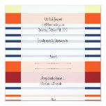 "RSVP - Stripes, Lines - Yellow Blue Orange 5.25"" Square Invitation Card"