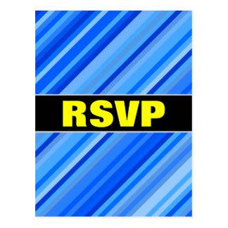 """RSVP"" + Stripes of Blue Pattern Postcard"