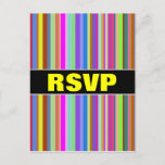 "[ Thumbnail: ""RSVP"" + Stripes of Various Colors Postcard ]"
