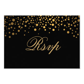 RSVP Stylish Confetti Gold Dot Wedding Card