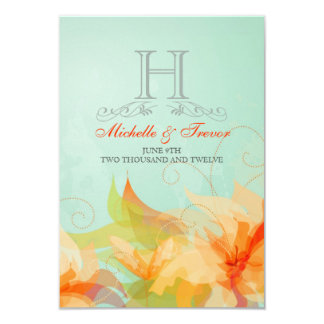 "RSVP - Stylish Floral Abstract Wedding Invitations 3.5"" X 5"" Invitation Card"