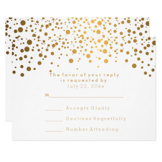 RSVP Stylish Gold Confetti White Wedding Card