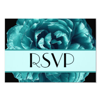 RSVP subió turquesa que casa la tarjeta de la Invitación 8,9 X 12,7 Cm