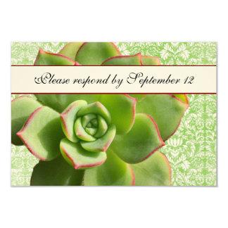"""Rsvp suculento verde de la marfil del damasco del invitación 3.5"""" x 5"""""""