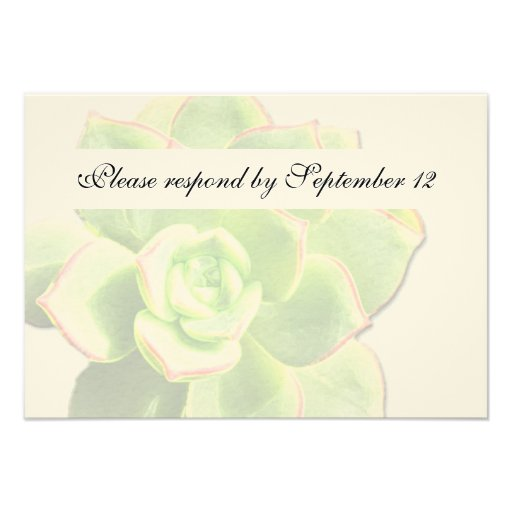 Rsvp suculento verde translúcido del vintage invitaciones personalizada