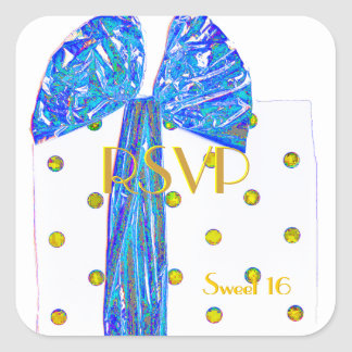 RSVP Sweet 16 Festive Package Square Sticker