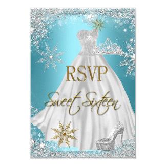 RSVP Sweet 16 Sweet Sixteen Teal White Gold Elite 3.5x5 Paper Invitation Card