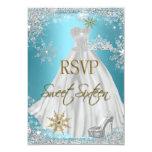 RSVP Sweet 16 Sweet Sixteen Teal White Gold Elite Custom Invites