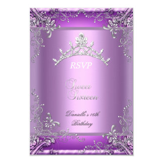 RSVP Sweet Sixteen 16 16th Birthday Party Purple 3.5x5 Paper Invitation Card