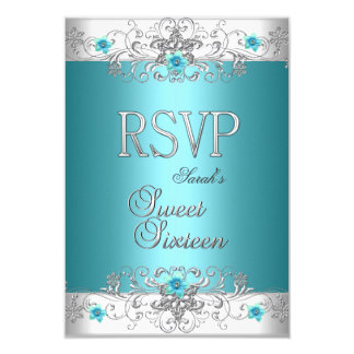 RSVP Sweet Sixteen 16 Party Teal Blue Diamond 3.5x5 Paper Invitation Card