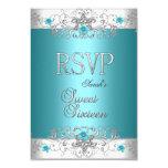 RSVP Sweet Sixteen 16 Party Teal Blue Diamond Custom Invites