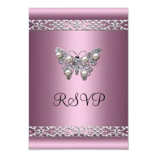 RSVP Sweet Sixteen Birthday Satin Pink Butterfly Custom Invitations