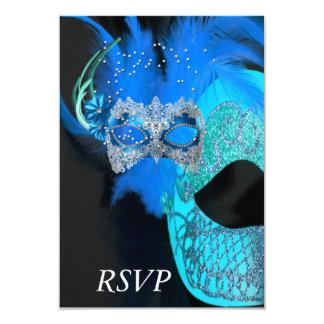 RSVP Teal Blue Black Masks Masquerade Ball Party 3.5x5 Paper Invitation Card