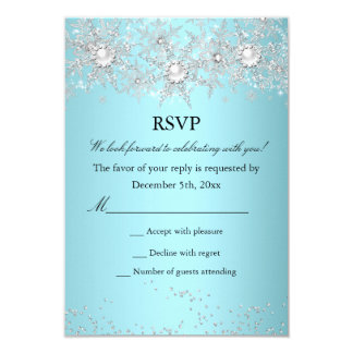 RSVP Teal Blue Crystal Pearl Snowflake Winter 3.5x5 Paper Invitation Card