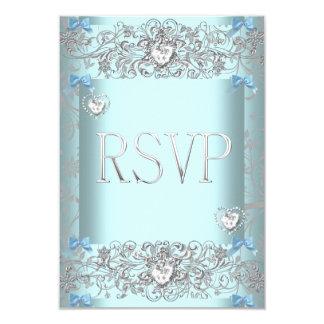 RSVP Teal Blue Damask Wedding White Diamond Hearts 3.5x5 Paper Invitation Card
