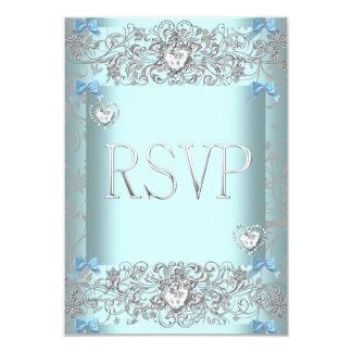 RSVP Teal Blue Damask Wedding White Diamond Hearts Personalized Invites
