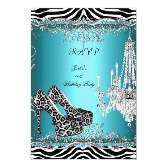 RSVP Teal Blue Zebra Leopard Print Party Shoes Card