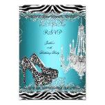 "RSVP Teal Blue Zebra Leopard Print Party Shoes 3.5"" X 5"" Invitation Card"