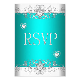 RSVP Teal Silver White Diamond Hearts Card
