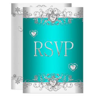 RSVP Teal Silver White Diamond Hearts Invitation