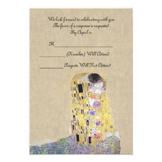 RSVP The Kiss Golden Wedding Anniversary Klimt Custom Invites