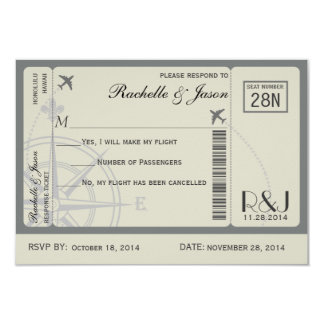 """RSVP Ticket Airlines 3.5"""" X 5"""" Invitation Card"""
