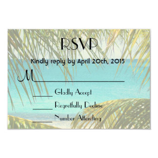 RSVP Tropical Beach framed with Palm Fronds 3.5x5 Paper Invitation Card